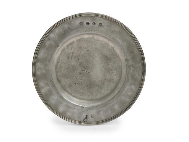 A Stuart reeded broad rim plate, circa 1675