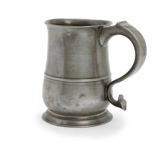 A quart OEWS tulip-shaped mug, circa 1740