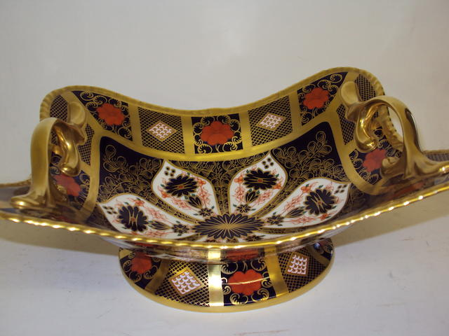 A large Royal Crown Derby 'Imari' pattern twin-handled fruit dish