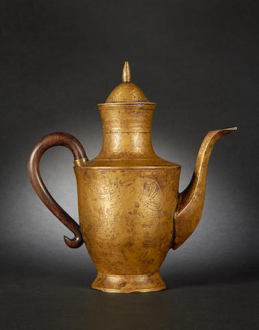 A gilded metal ewer and cover Qianlong four-character mark