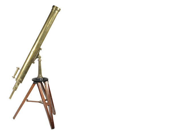 A 4 1/2-inch William Wray refracting astronomical telescope on stand,  English, mid 19th century,
