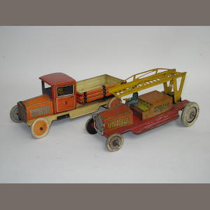 German tinplate Fire Escape and Tipper truck, 1930s 2