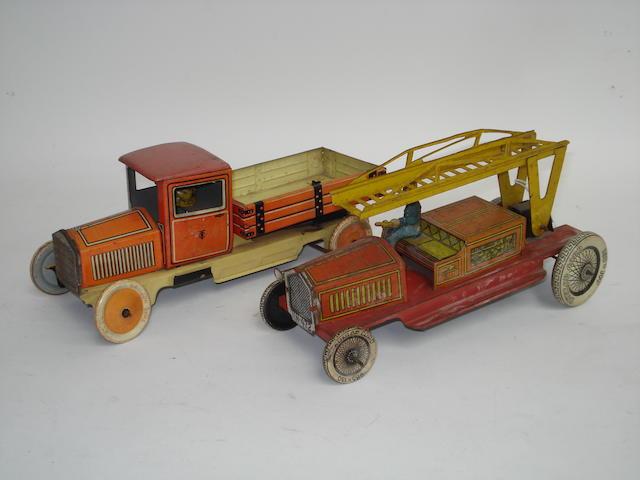 German tinplate Fire Escape and Tipper truck, 1930s 2