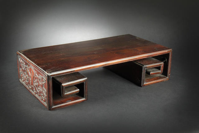 A zitan rectangular table stand 18th/19th century