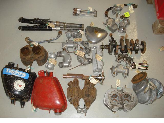 A quantity of Triumph engine components,