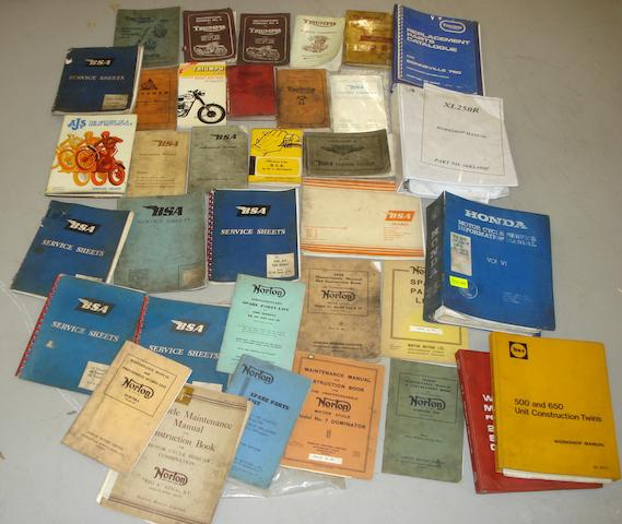 Assorted motorcycle technical literature,