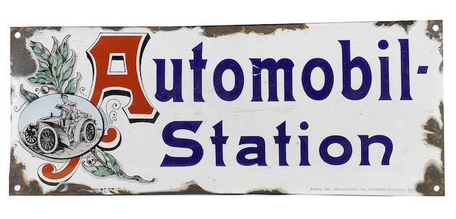 An 'Automobil Station' enamel sign, German, 1900s,