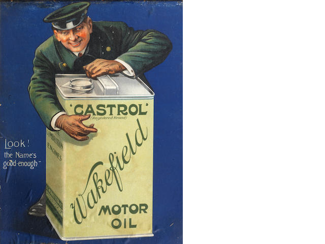 A Wakefield Castrol Motor Oil advertising card, circa 1910,