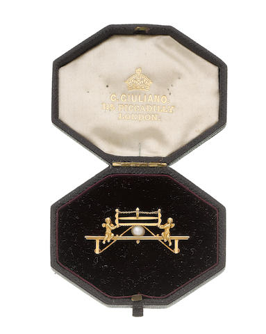 A late 19th century gold and pearl bar brooch, by Carlo Giuliano, (illustrated above)