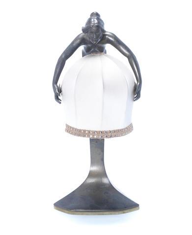 Prof. Rudolf Marschall A Patinated Bronze Figural Lamp, circa 1910