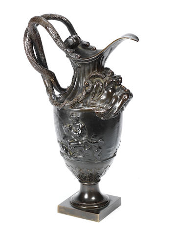 A 19th century patinated bronze ewer after Clodioncirca 1880