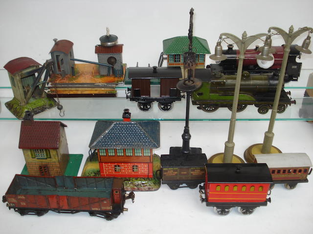 Track side accessories, buildings, engines and rolling stock lot