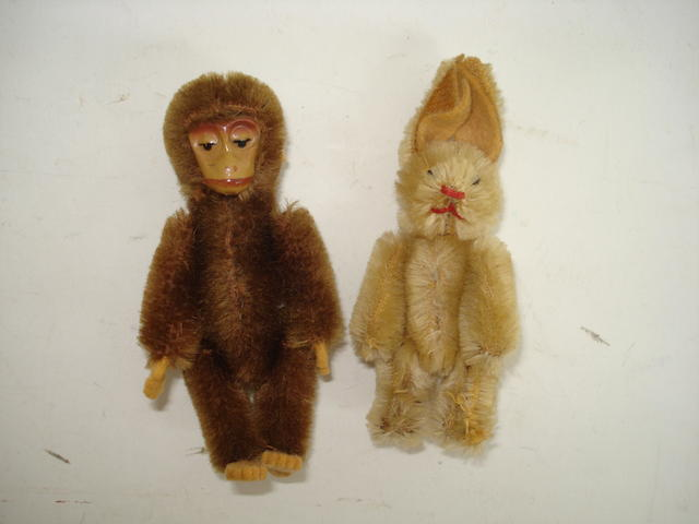Miniature Schuco monkey and rabbit, 1920's 2