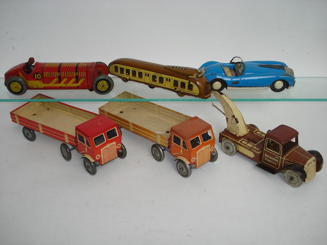 Tinplate train, trucks and cars 6