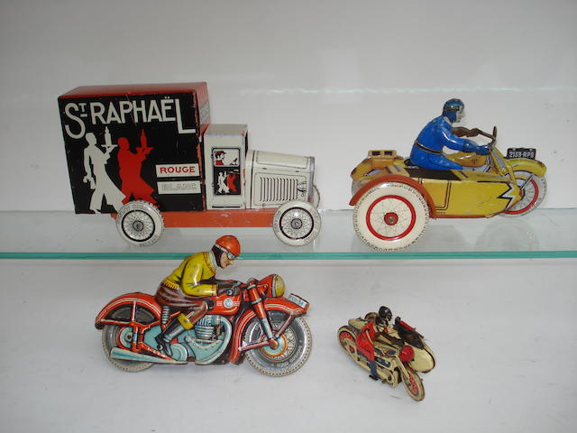 French tinplate Motorcycles and delivery van 4