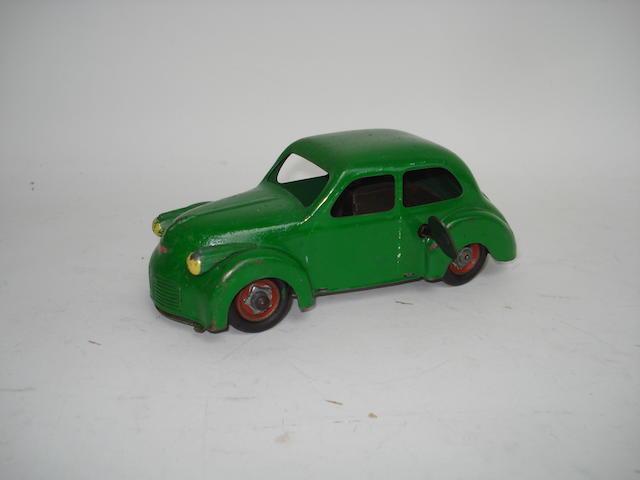 Tinplate c/w Panhard Dyna car, possibly CIJ