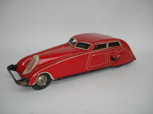 Tinplate Streamline modern motor car, probably Gunthermann 1930s