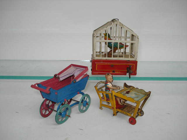 Tinplate c/w Bird Cage and penny toy Pram and highchair 3