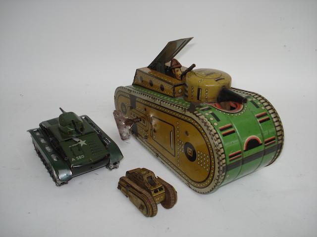 Marx (USA) c/w tinplate WWI tank, 1920s 5