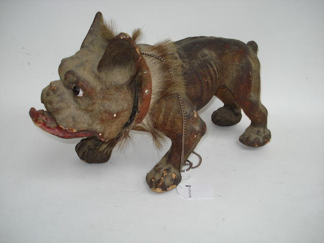 Roullet & Decamps barking bull dog, French circa 1900