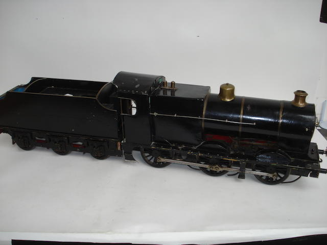 A 3 1/2in gauge model of a 0-6-0 locomotive and tender