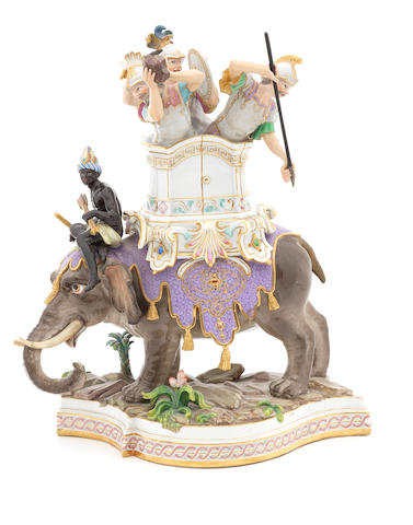 A Meissen group, soldiers atop an elephant, restored.