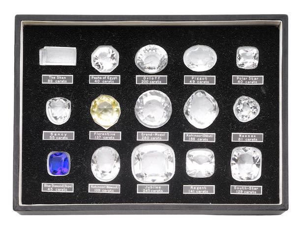 A collection of replicas of historical diamonds and booklet (2)