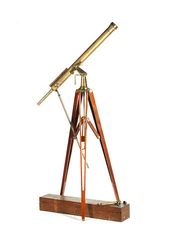A 3 1/4-inch Watson & Sons brass refracting telescope on stand, English, late 19th century,