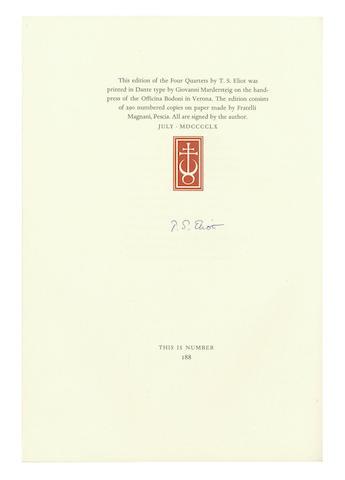 ELIOT (T.S.)  Four Quartets, NUMBER 188 OF 290 COPIES, 1960