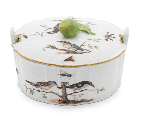 A Meissen butter dish and cover, circa 1760