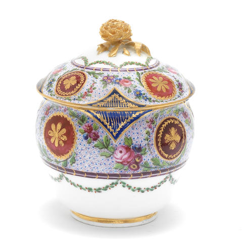 A Sèvres sugar pot and cover, circa 1770