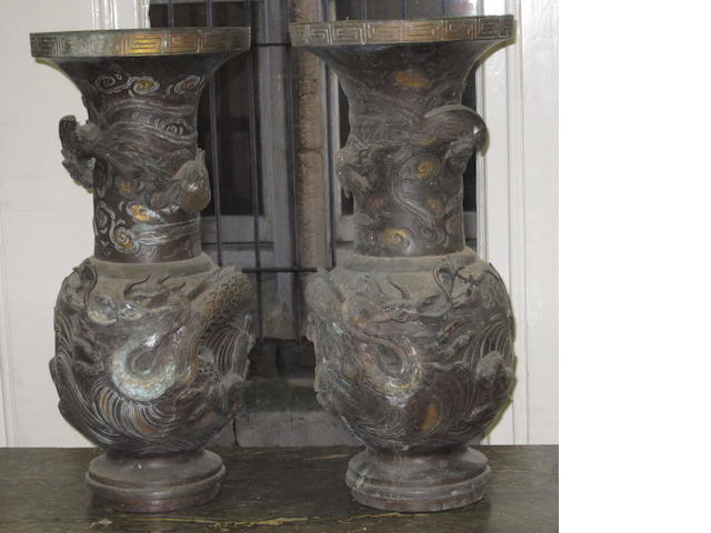 A pair of Japanese parcel gilt bronze vases Meiji period