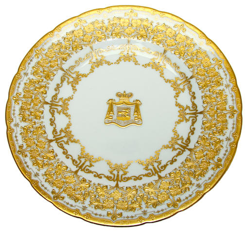 A pair of Royal Crown Derby armorial plates, dated 1908