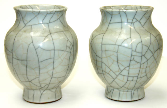 A pair of Chinese crackle glaze vases