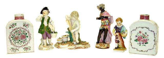 Three Meissen figures, one other figure and two Chinese export tea canisters, late 19th-early 20th century
