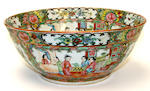 A Canton export punch bowl, late 19th Century,