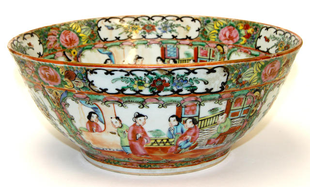 A Canton export punch bowl, late 19th century