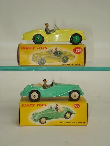 Dinky 102 M.G Midget and 105 Triumph TR2 Sports cars 2