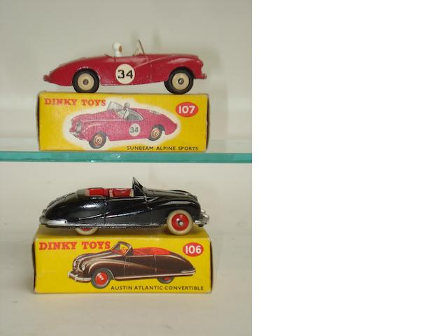 Dinky 106 Austin Atlantic and 107 Sunbeam Alpine  2