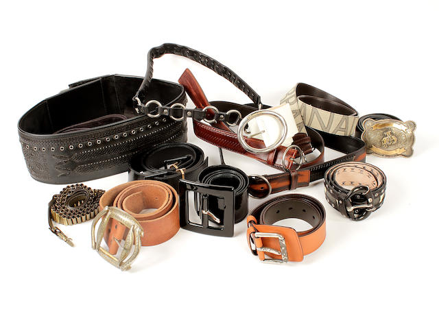 A large quantity of designer belts