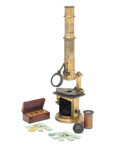 A Nachet compound monocular microscope, French, circa 1860,