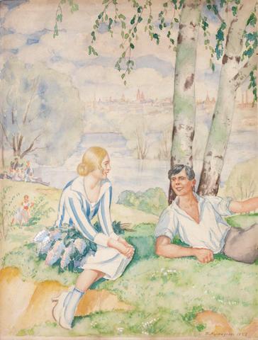 Boris Mikhailovich Kustodiev (Russian, 1878-1927) 'On the river-bank (Spring)', 1927 unframed