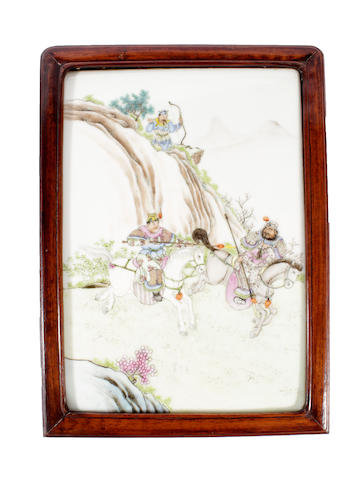 A Chinese famille rose rectangular plaque