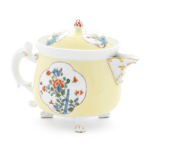 A Meissen cream pot and cover, yellow ground (restored foot and chips)