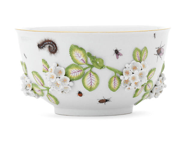 A Meissen bowl with mayflower and insect decoration