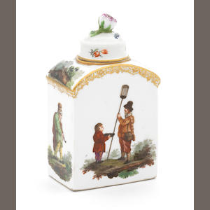 A Meissen tea canister and cover, figures (cover restored)