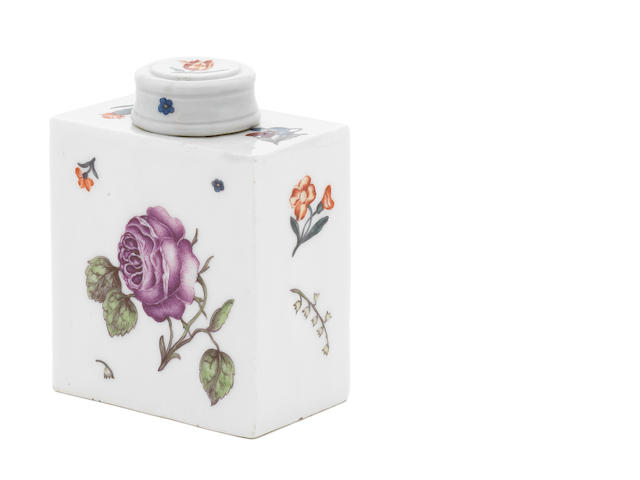 A Meissen tea cannister and cover rose
