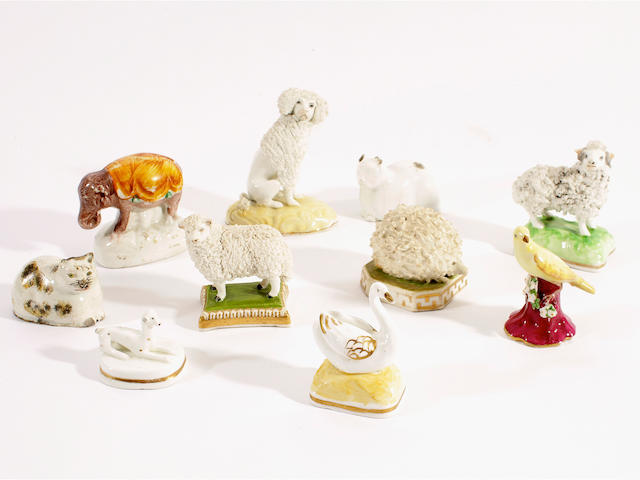A collection of eleven miniature models of animals, 19th century