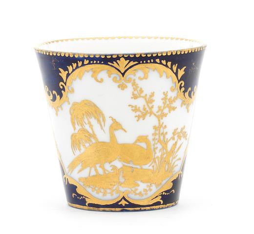 A Vincennes bleu-lapis-ground large cup (gobelet à la Reine), circa 1750-52