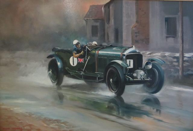 Dion Pears Sir Henry (Tim) Birkin Driving his 4.5 litre Super-Charged Bentley in the Ulster Tourist Trophy Race 61 x 90cm.